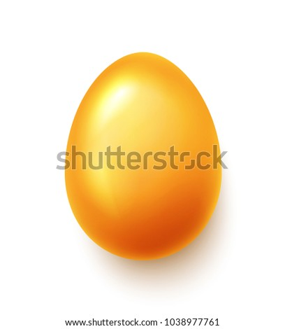 Realistic gold happy Easter egg over white background. Vector illustration.