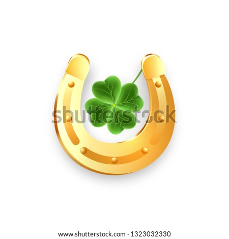 realistic gold horseshoe and