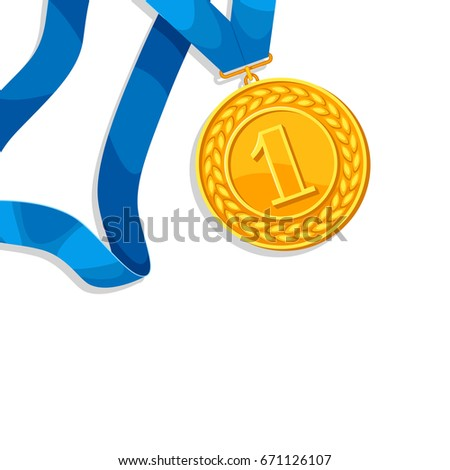 Realistic gold medal for first place. Background with place for text award for sports or corporate competitions.