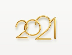 Realistic gold metal inscription 2021. Gold calligraphy New Year lettering. Design element for advertising poster, flyer, postcard. Vector illustration EPS10