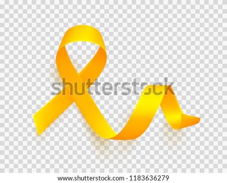 Realistic gold ribbon over transparent background. World childhood cancer symbol, vector illustration. Template for poster for cancer awareness month.