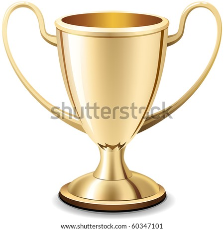 Realistic gold shiny trophy cup on white background