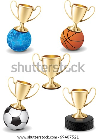 Realistic gold shiny trophy cup vector collection set on white background with different sport equipment and earth globe
