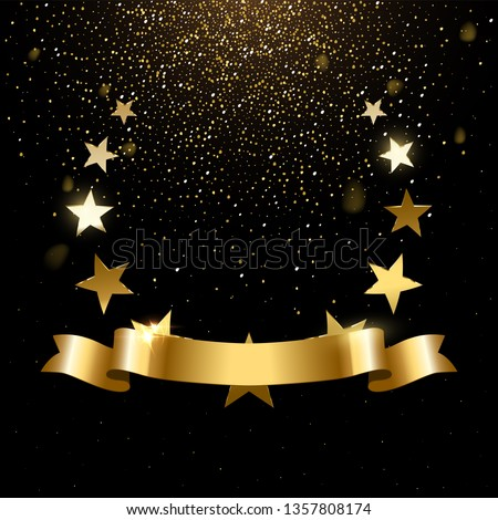 Realistic gold star emblem with text space. Premium insignia, traditional victory symbol on black backdrop. Triumph, win poster, banner layout with golden glitter rain. Shiny frame, border