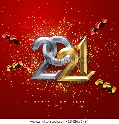 Realistic 2021 golden and silver numbers with festive confetti and ribbons on red background. Vector holiday illustration. Happy New 2021 Year. Chinese new year ornament.