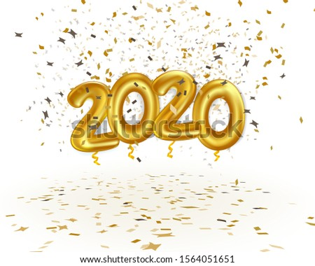 realistic 2020 golden balloon fly with gold confetti. concept for element design on christmas and new year in vector illustration