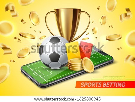 Realistic golden cup, football red, yellow cards, soccer ball on football field in smartphone screen on golden coins background. Vector betting application promo. Online betting, bookmaker advertising