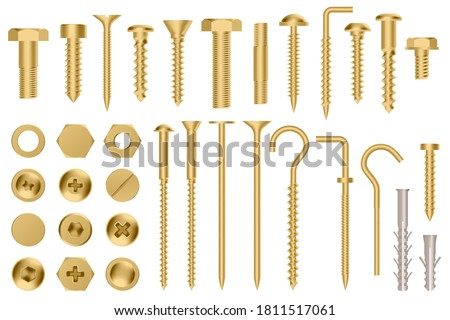 Realistic golden hardware. Construction gold metal hex cap nuts, 3d metal fixation gear, stainless screws and bolts vector illustration icons set. Eye hook, head fastener, metal rivet Сток-фото ©