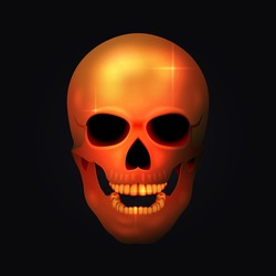 Realistic golden human skull in the dark. Vector illustration.