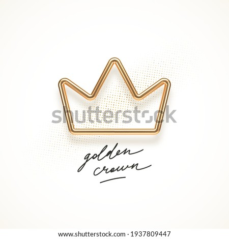Realistic golden metal crown on a white background. 3d golden crown - decoration elements for design. Vector illustration.
