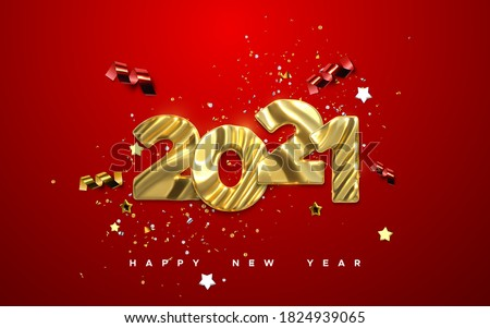 Realistic 2021 golden numbers and festive confetti, stars and spiral ribbons on red background. Vector holiday illustration. Happy New 2021 Year. New year ornament. Decoration element with tinsel