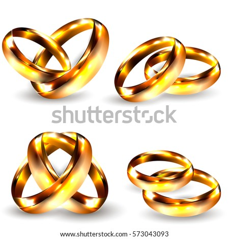 Realistic Golden Rings Isolated on White Background. Love Concept. 3D Vector Set