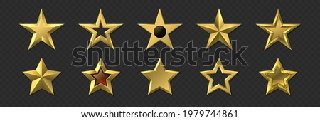 Realistic golden stars. 3D metal luxury awards. Shiny gold marks and review symbols. Metallic badges set of best quality or victory. Yellow pentagram. Rating icons. Vector decoration