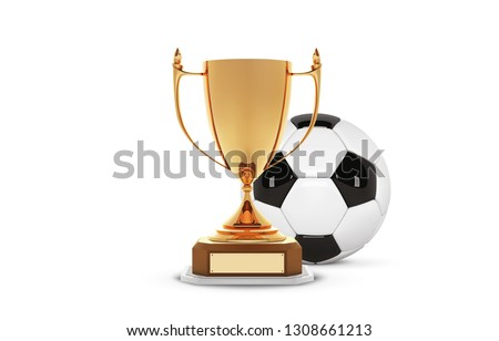 Realistic golden trophy Cup with gold ball inside. Winner Cup and football ball. Shiny golden 3d trophy awards on wooden shelf with soccer ball. Vector Illustration.