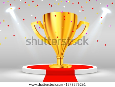 Realistic Golden Trophy on round podium illuminated with confetti illuminated with spotlight. Award ceremony concept. Stage backdrop. Vector illustration