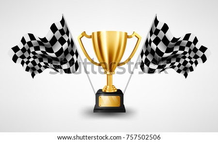 realistic golden trophy with