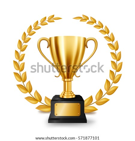 Realistic Golden Trophy with Gold Laurel Wreath, Vector Illustration