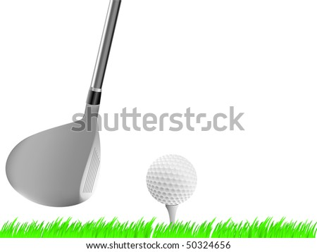 Realistic golf driver club  with ball on tee