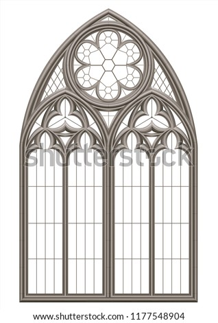 Realistic Gothic medieval stained glass window and stone arch with a shadow. Transparent shadow. Background or texture. Architectural element