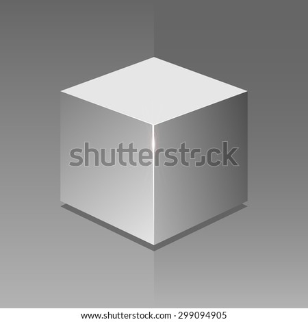 realistic gray cube with