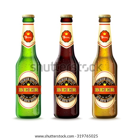 realistic green and brown beer