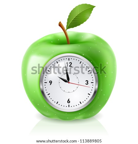 realistic green apple clock
