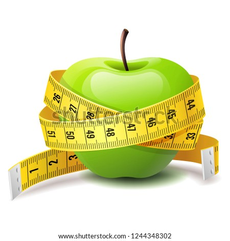 Realistic green apple with measure tape, fitness diet icon, body and health care concept, vector illustration Foto stock ©