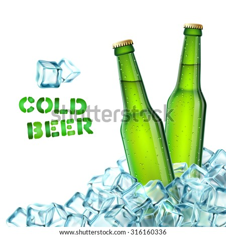 realistic green beer bottles in