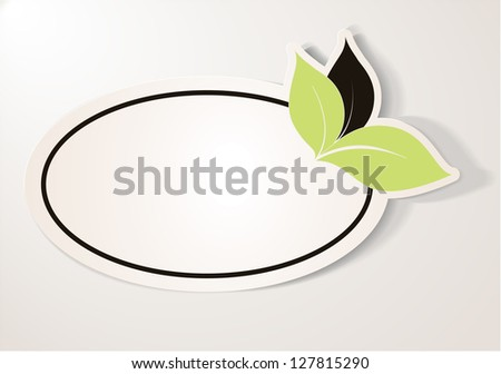 Realistic green eco friendly sticker over beige background. The label contains three leaves, two green and one brown leaf, oval shape. Design element for communication.