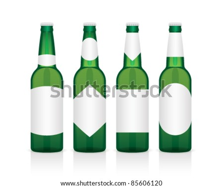 realistic green glass beer bottle with different labels