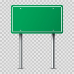 Realistic green traffic sign on two metal poles isolated on transparent background. Rectangular blank traffic road empty sign. Mock up template for your design.