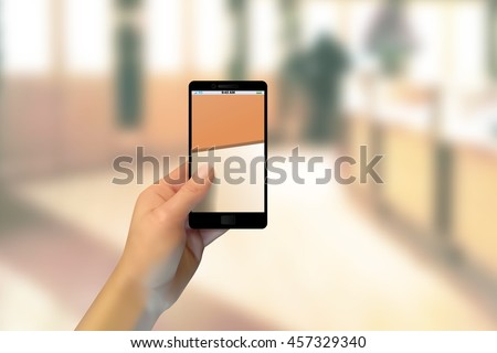 realistic hand holding a phone