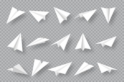 Realistic handmade paper planes collection on transparent background. Origami aircraft in flat style. Vector illustration.
