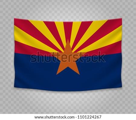 Realistic hanging flag of Arizona. State of USA. Empty  fabric banner illustration design.