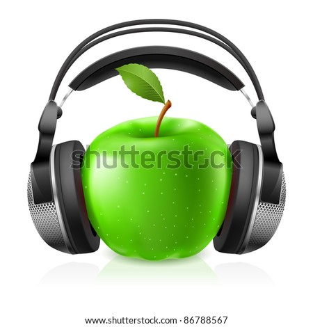 realistic headphones and green