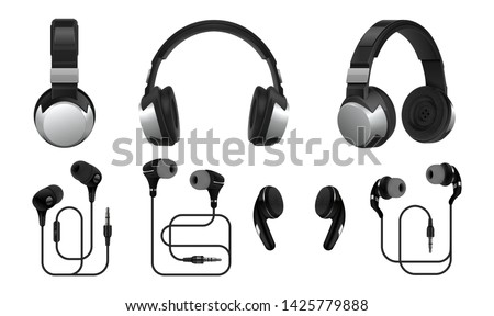 Realistic headphones. 3D wireless earphones and headset for listening music and gaming. Vector collections types of black earbuds isolated on white background Foto stock ©