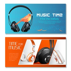 Realistic headphones horizontal banners with canary bird, music notes on blue and red backgrounds isolated vector illustration