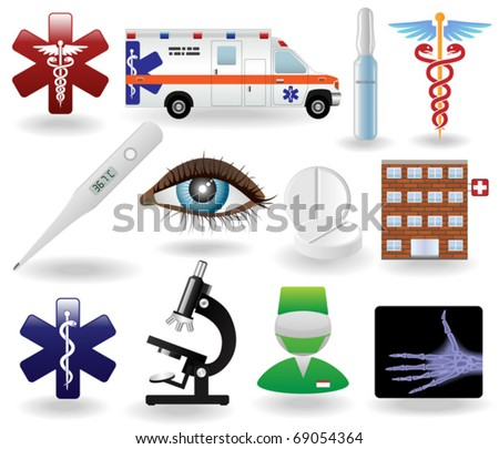 Realistic Healthcare and  Medical Icons and Symbols Set