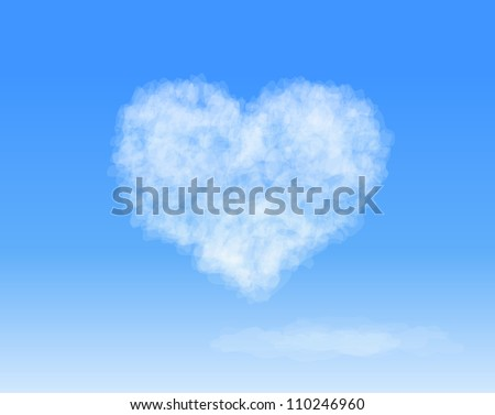 416144e5956 Realistic Heart shaped cloud in the blue sky. Valentine`s day. Vector  background
