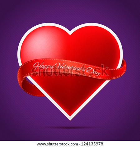 Realistic heart with red ribbon on purple background for valentine's day. Ideal for websites, presentations and in printing ads.