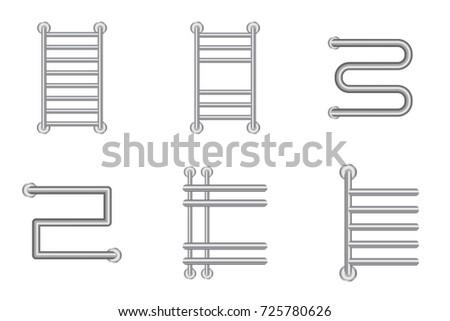 Realistic Heated towel rail or  heating battery radiator icons set. Vector illustration.