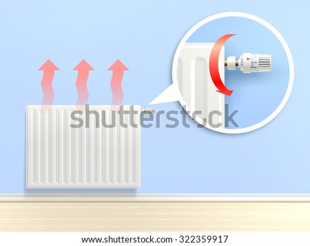 realistic heating radiator with