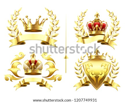Realistic heraldic emblems. Insignia with golden crown, gold crowning medal emblem with royal crowns on shields 3d isolated set. Luxury laurel wreath king badges, trophy labels retro vector icons