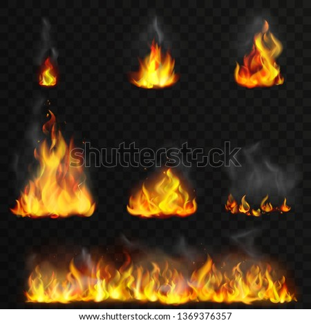 Realistic high detailed vector fire flames set.