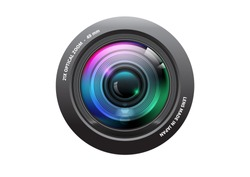 Realistic High Quality camera lens on white background, Isolated, vector Illustration.