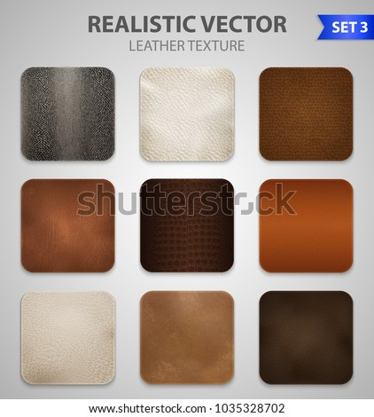 Realistic high quality genuine and artificial faux leather  texture color samples patches set grey background vector illustration