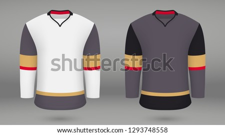 Realistic hockey kit Vegas Golden Knights, shirt template for ice hockey jersey. Vector illustration