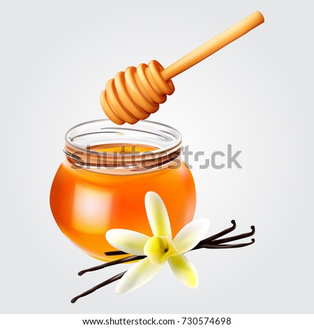 Realistic honey jar with honey dipper and vanilla. Vector icon.