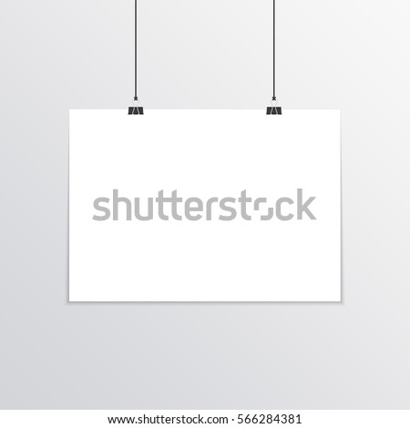 Realistic horizontal poster mock-up A4 hanging with binder clips. Paper Card. Grey wall with empty blank paper sheet template. Vector illustration EPS 10.