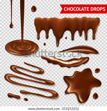 Realistic hot chocolate splashes on transparent background isolated vector illustration